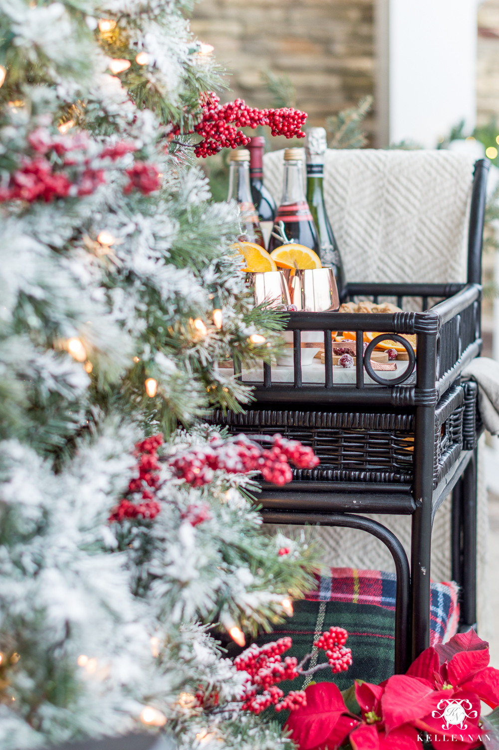 Christmas Bar Cart Served on the Porch