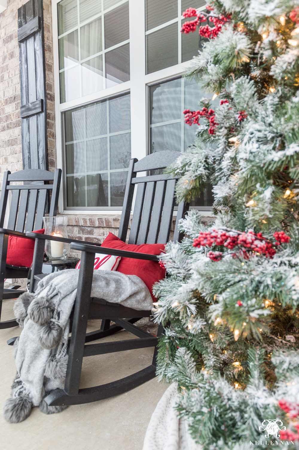 Rocking Chair Christmas Front Porch with Red Accents