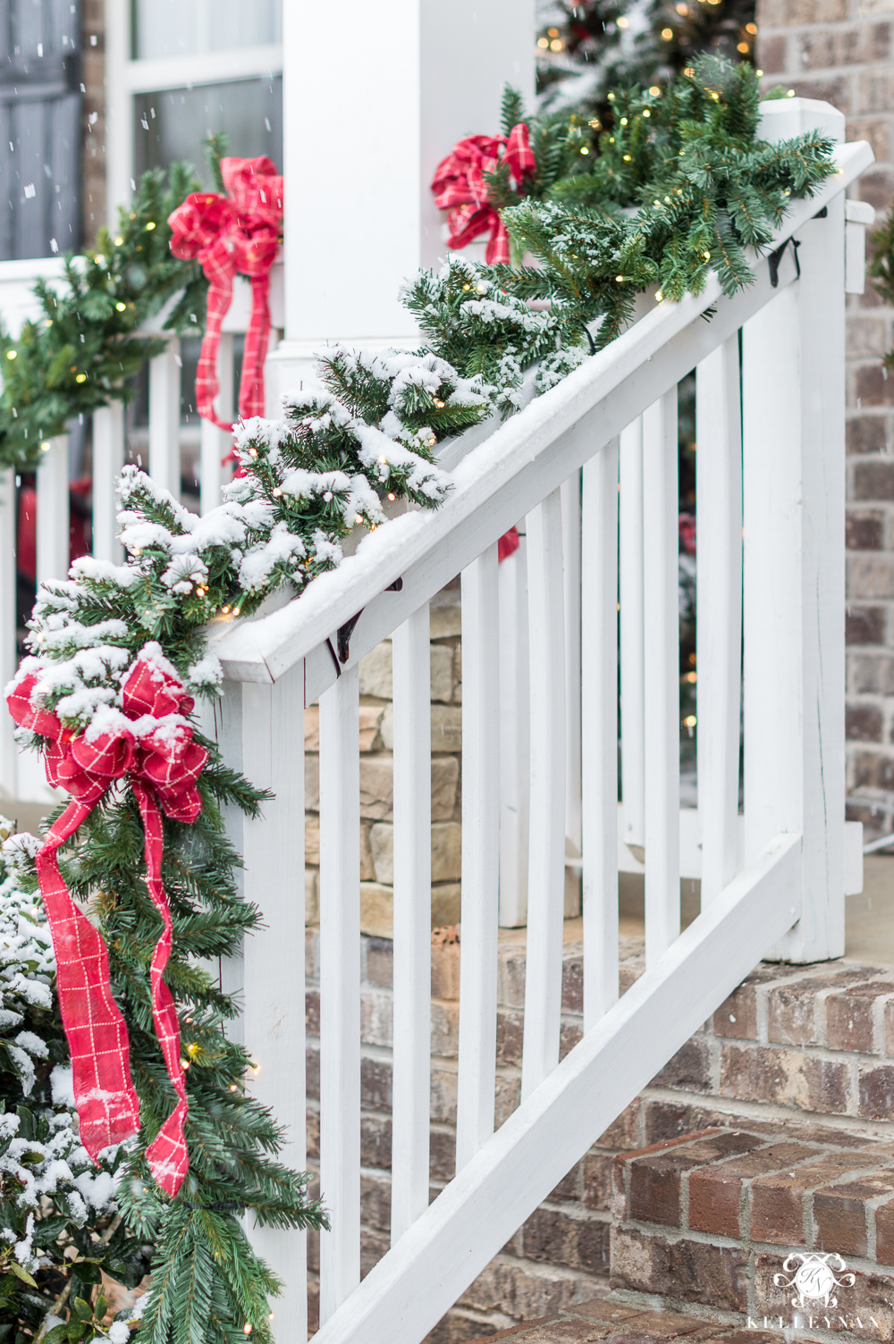 Christmas Front Porch Garland with Classic Red Bows