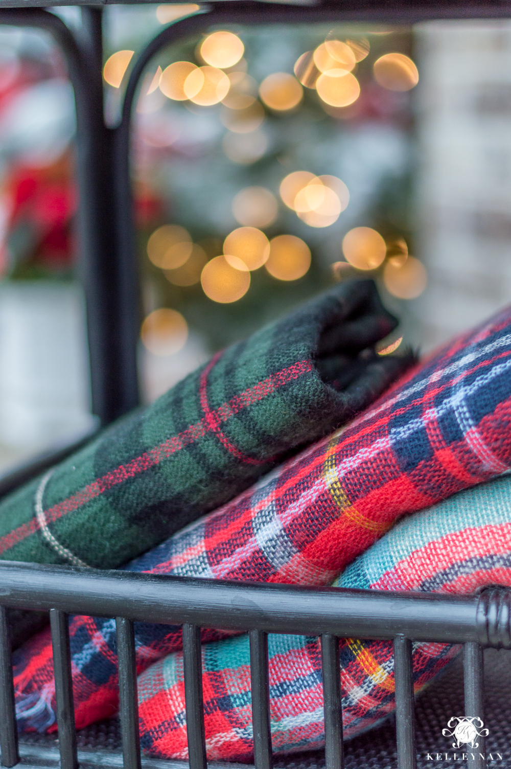 Plaid Throws for Front Porch for Christmas