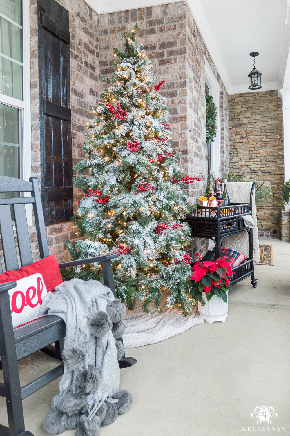 front porch flocked christmas tree - Craftsman Christmas Classic