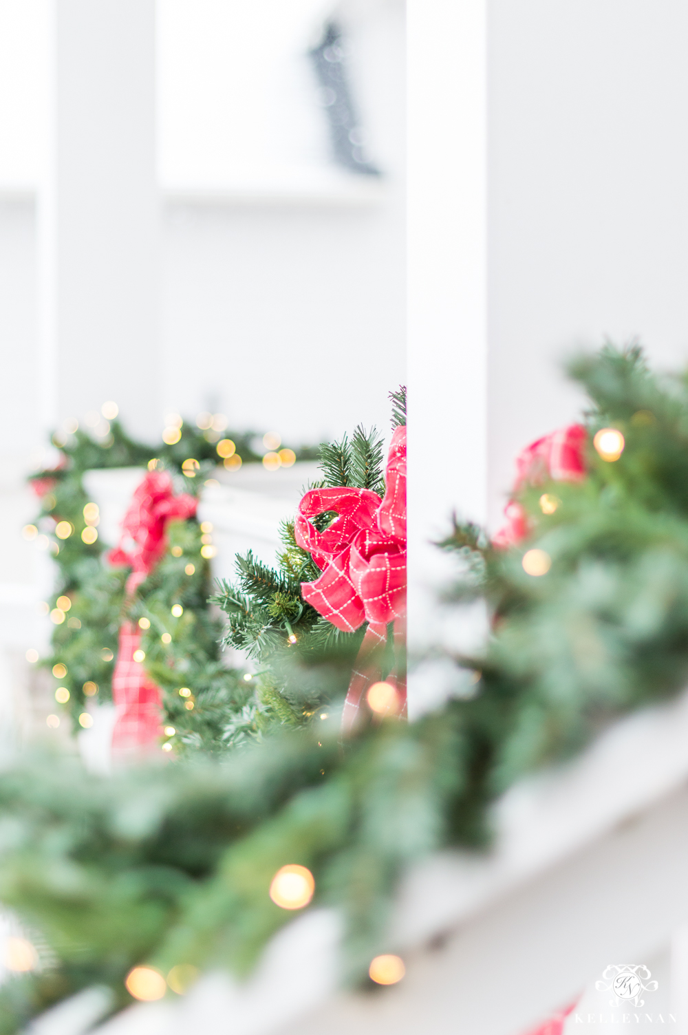 Red and Green Front Porch Christmas Garland