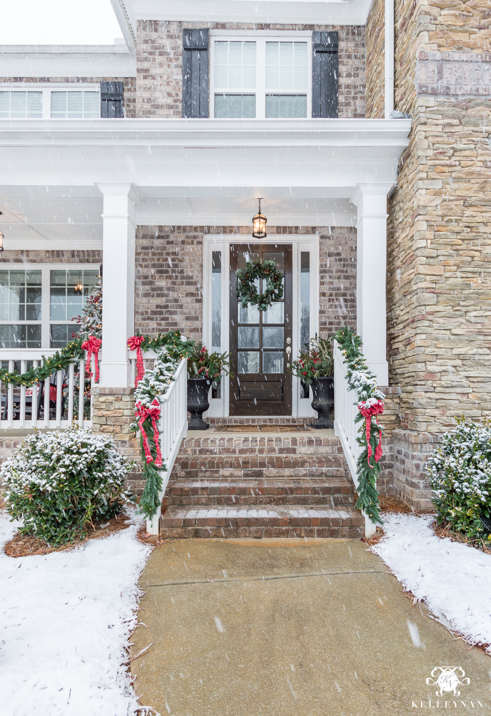 Front Steps on Traditional Christmas Home