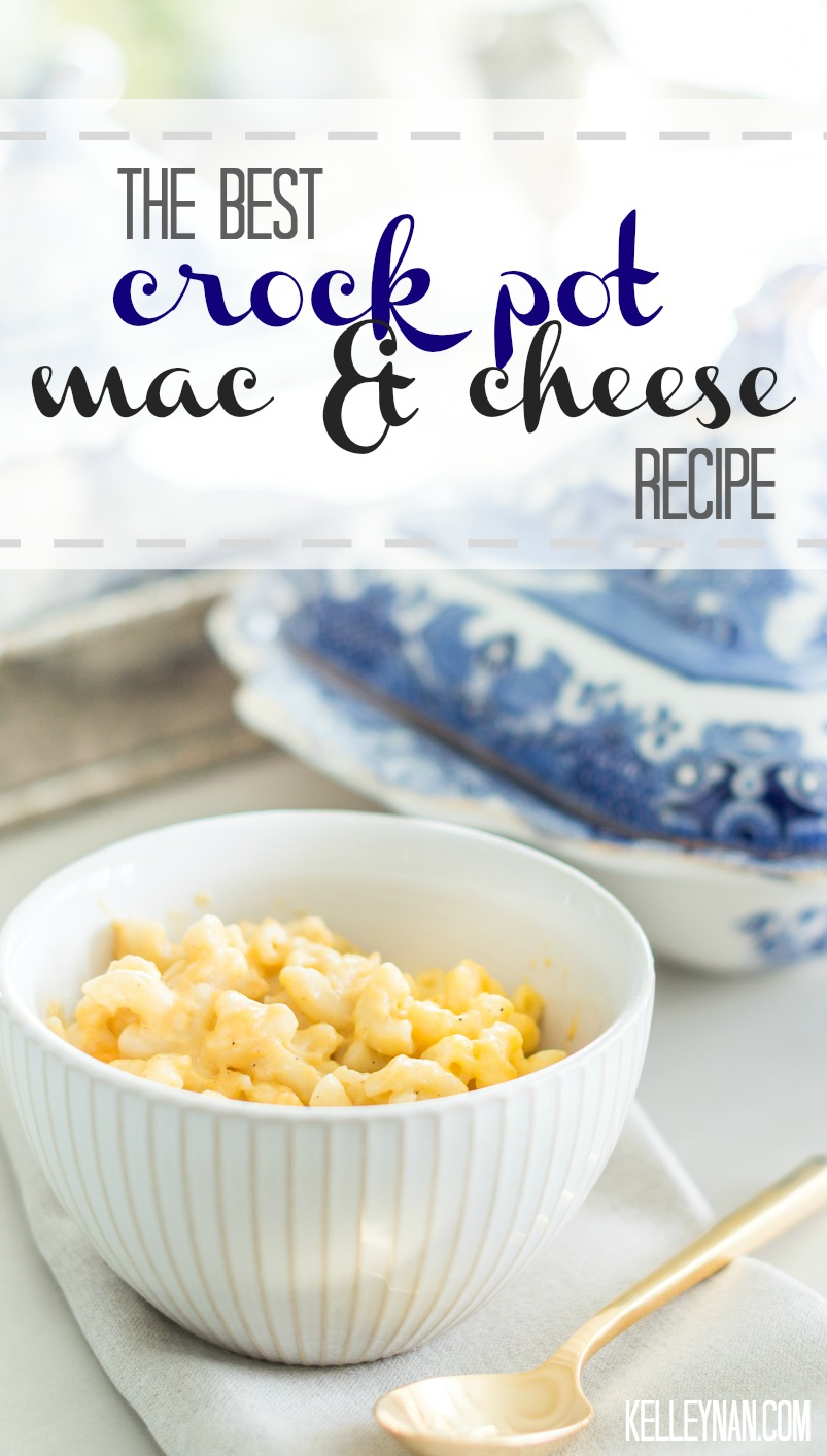 Creamy and delicious slow cooker mac and cheese recipe- the perfect side for a dinner party