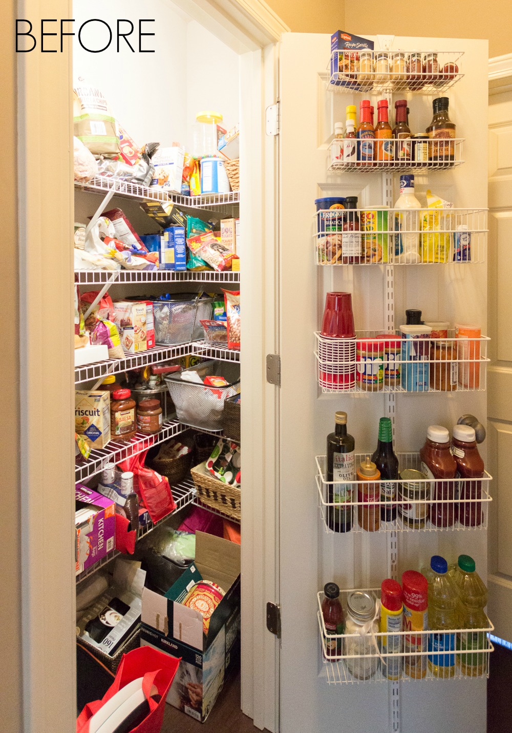 Cluttered Organized pantry before