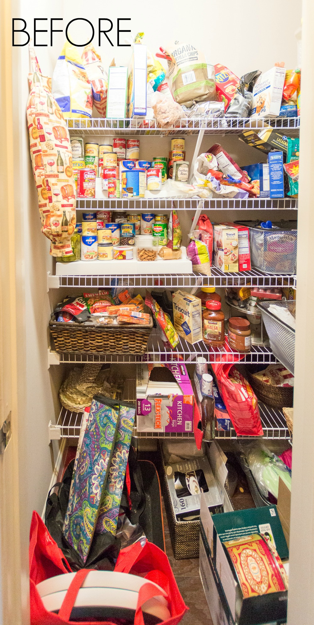 Overflowing before of an organized pantry