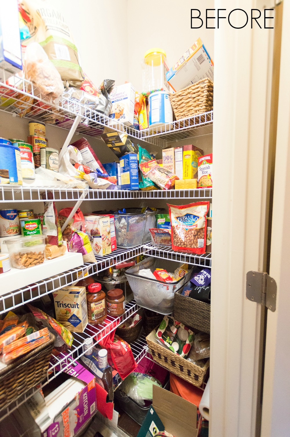 Before of a small cluttered pantry