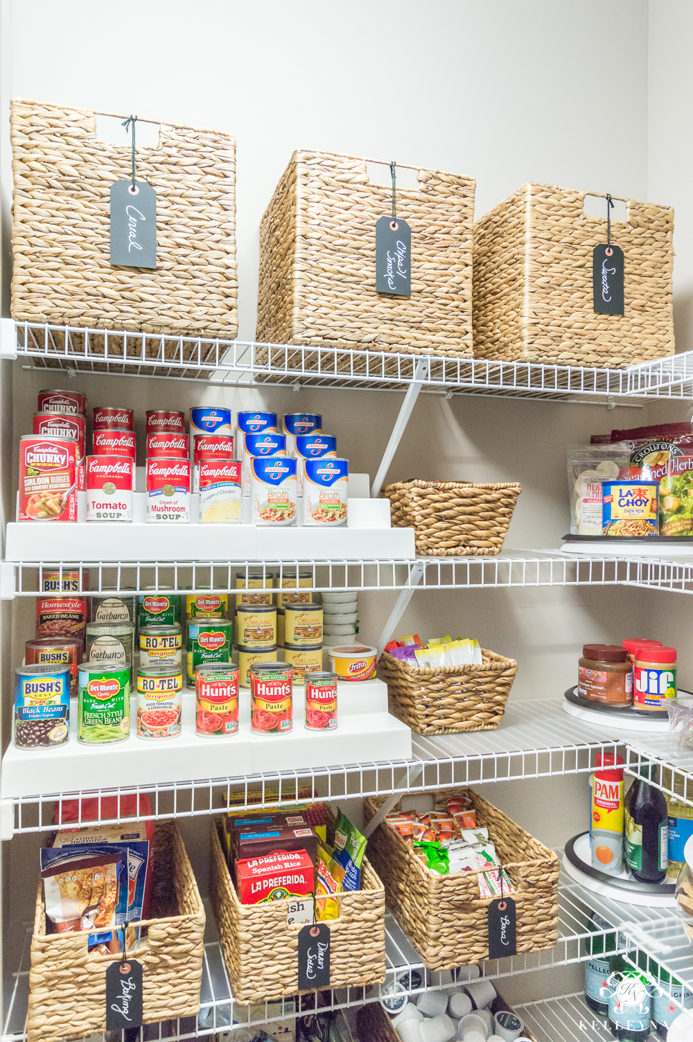 Organized pantry ideas with can risers