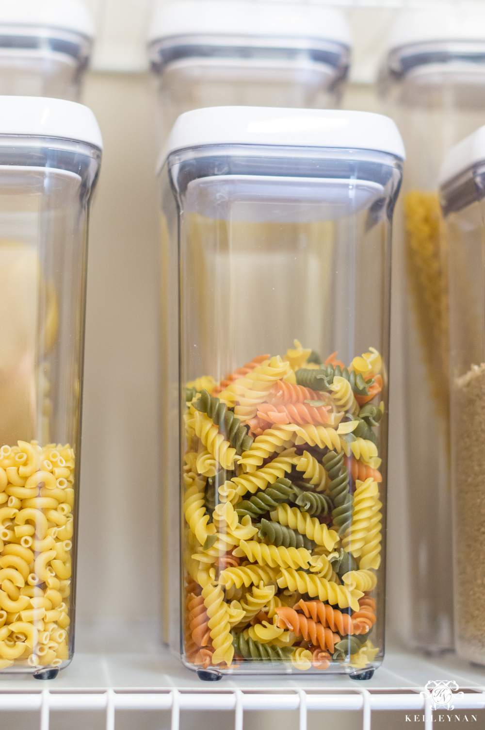 Pop Canisters for pasta in organized pantry