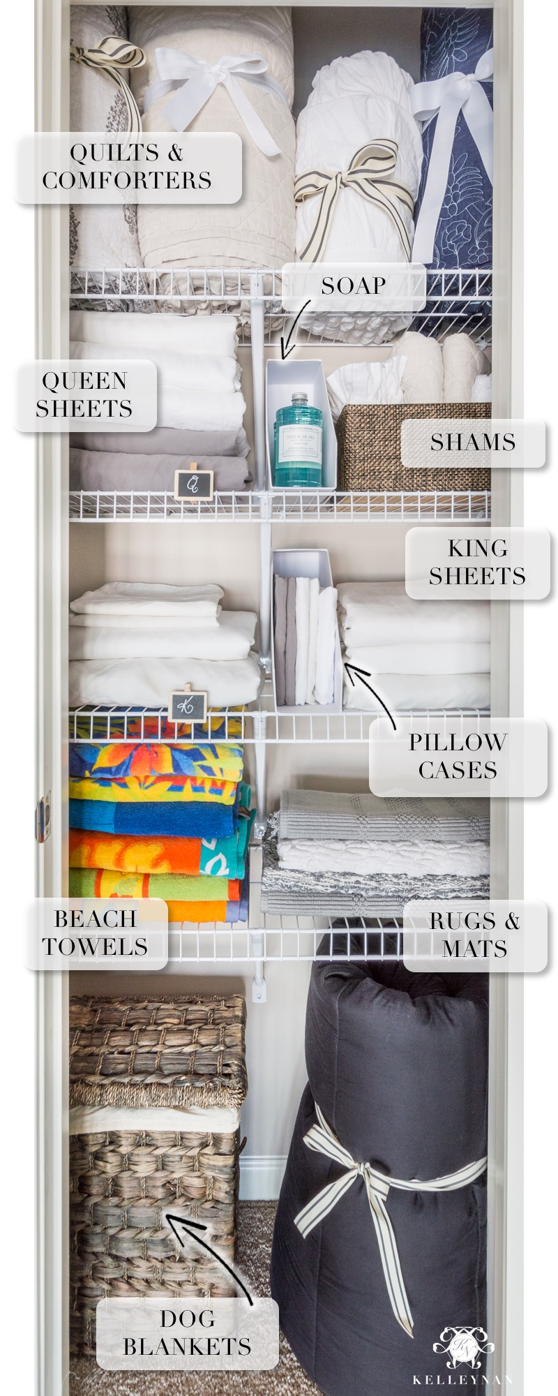 How to organize a small linen closet with spare bulky bedding, quilts, and sheets