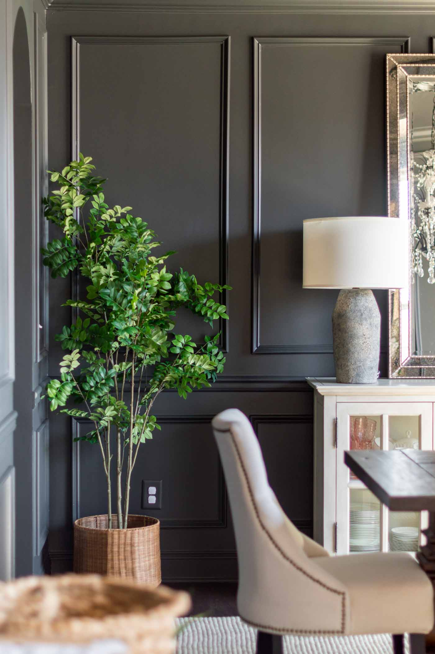 Black Charcoal Dining Room Painted in Sherwin Williams Iron Ore