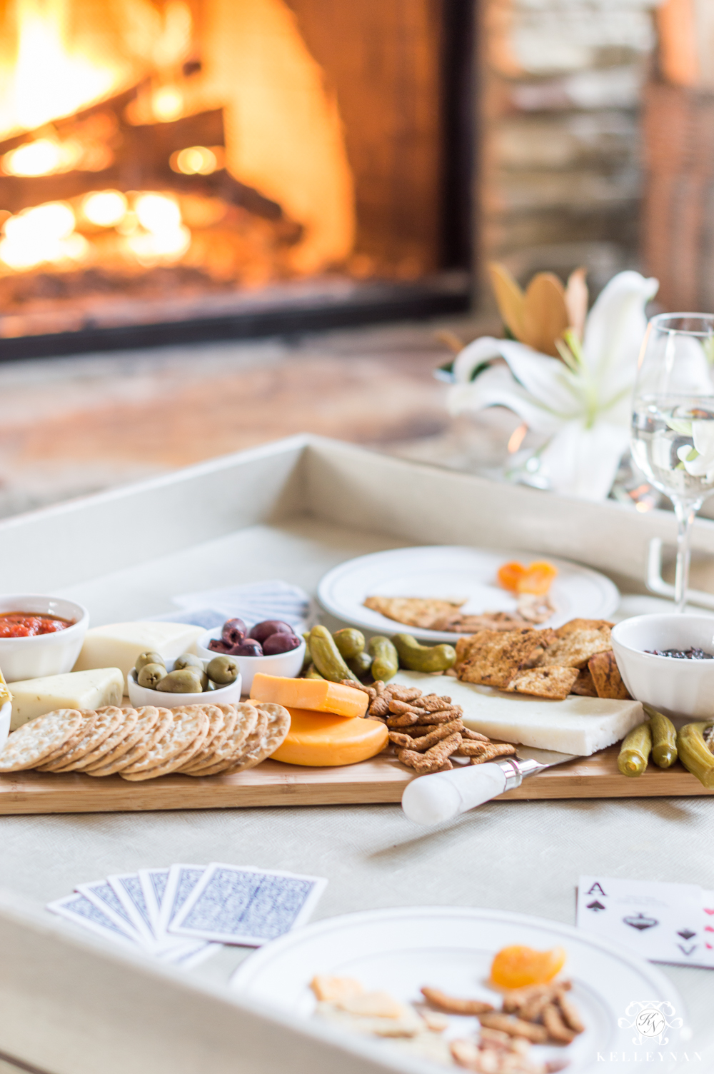appetizer board with elaborate cheese spread