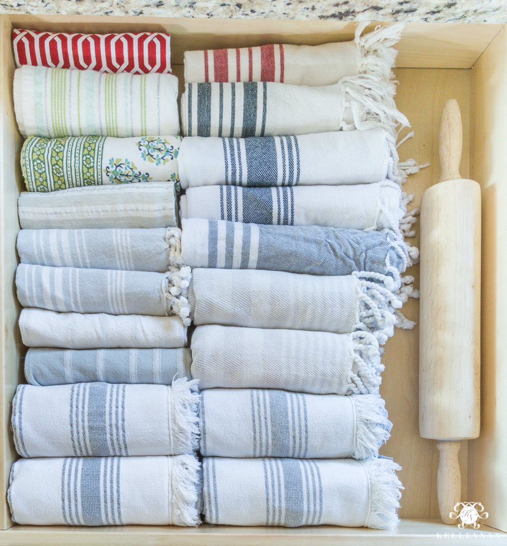 Easy Kitchen towel organization rolled in a drawer