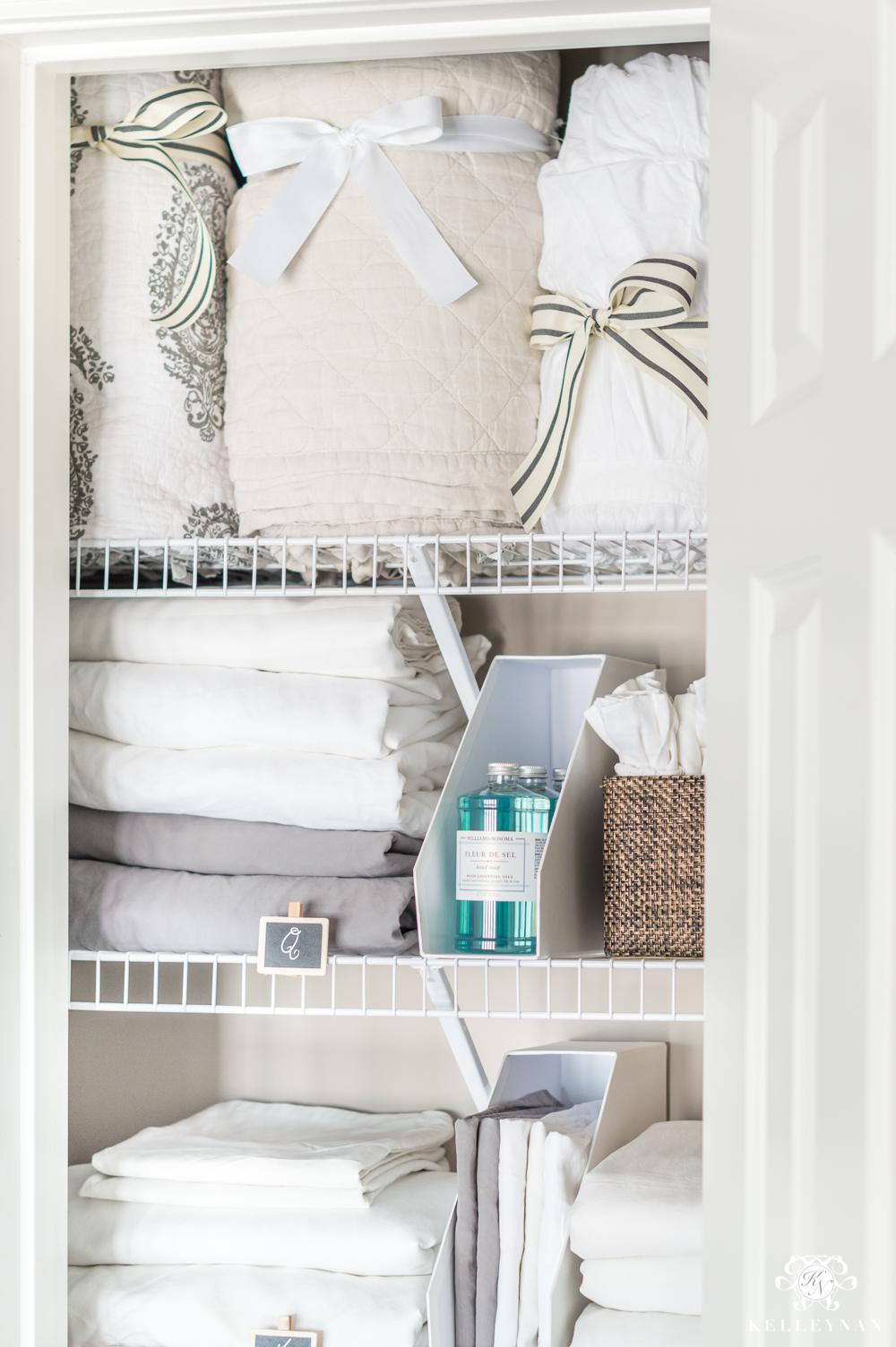 Sheet organization in a tiny linen closet