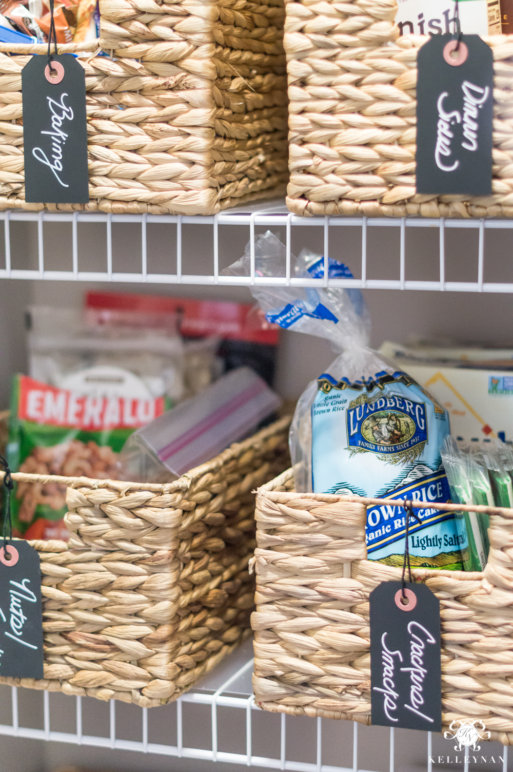 Organized pantry baskets with labels for pantries with limited space storage