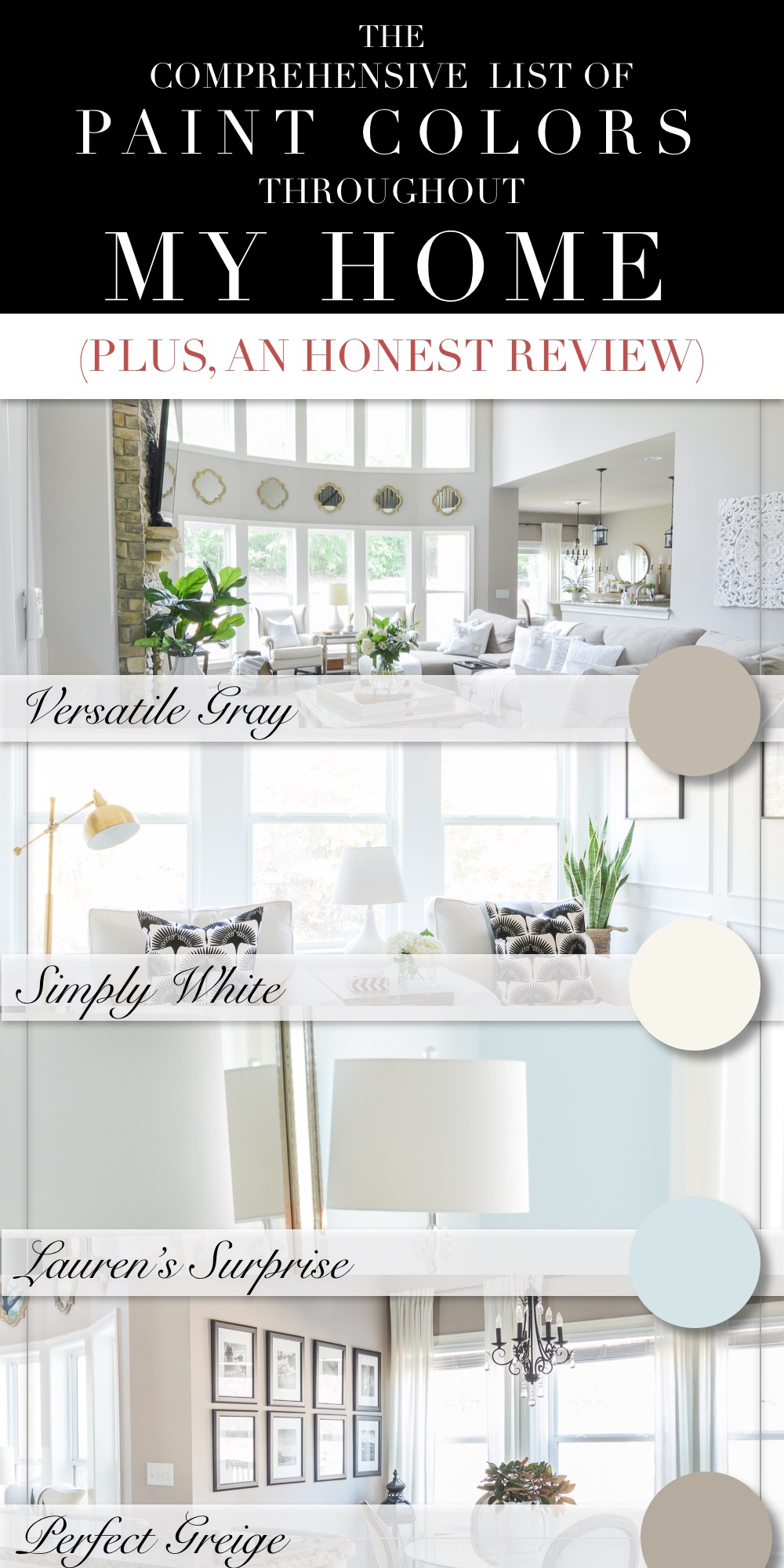 Favorite Neutral Paint Colors for a Cohesive Home with Blue, Greige, Gray, and White from Benjamin Moore and Sherwin Williams