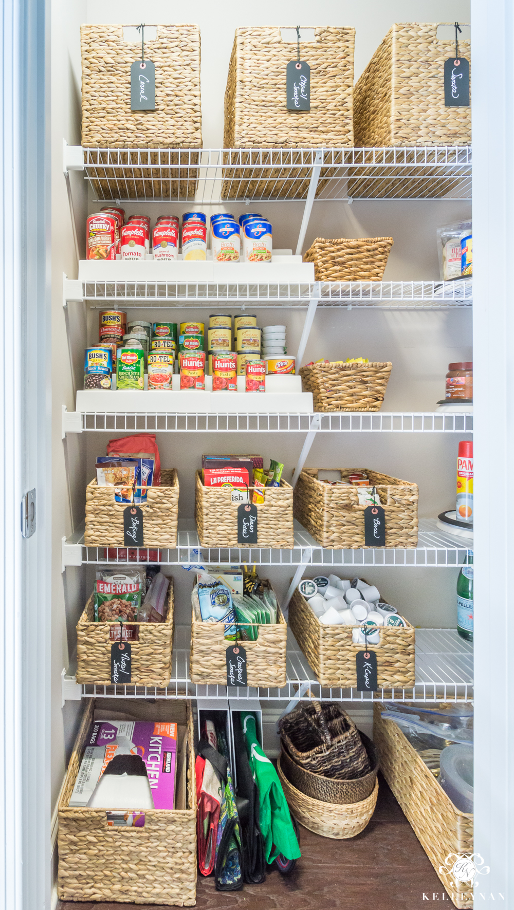 Organized Pantry Before And After For Tiny Closets With Wire Shelving