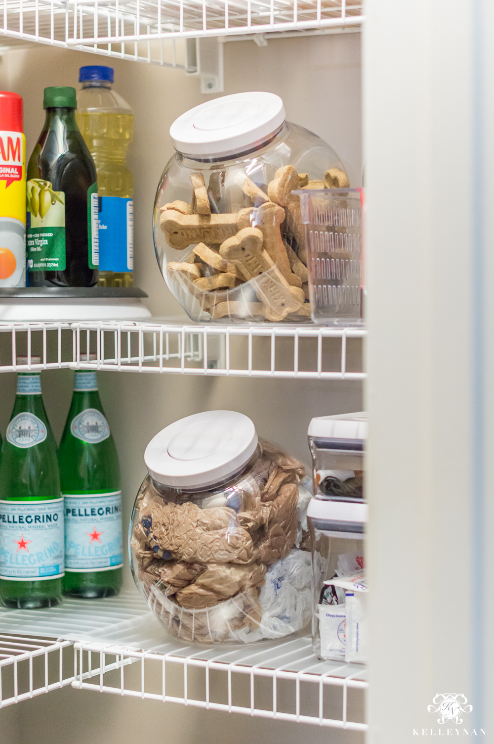 Plastic bag storage in an organized pantry