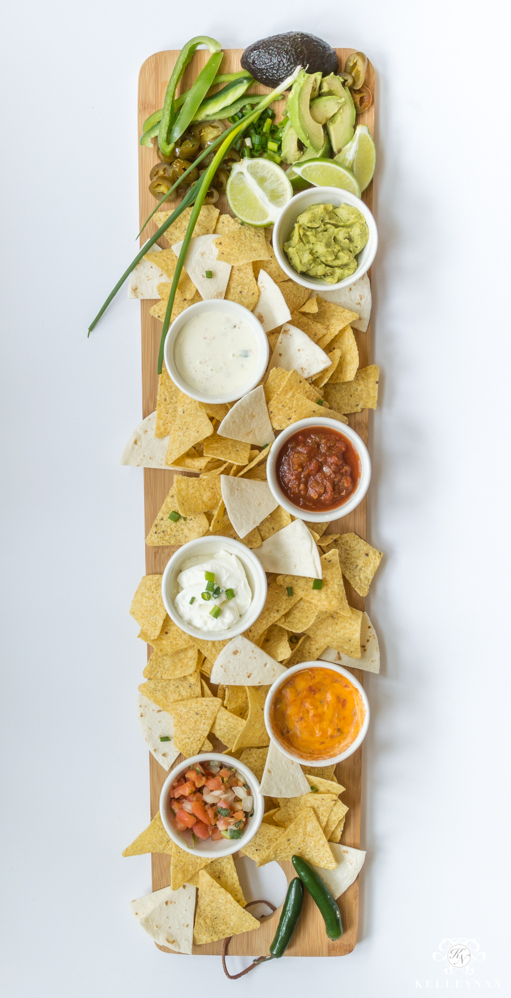 Southwest Mexican chips and dip appetizer board