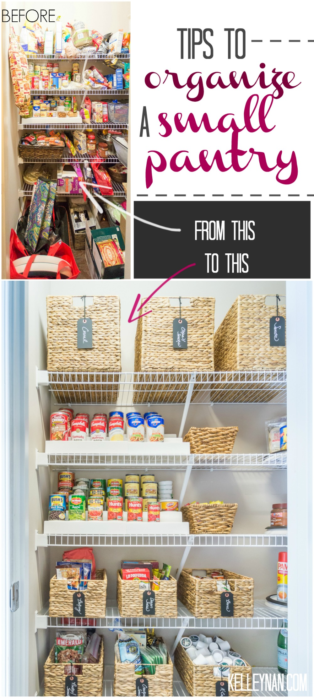 Small Pantry organization ideas with baskets, risers, and pop canisters