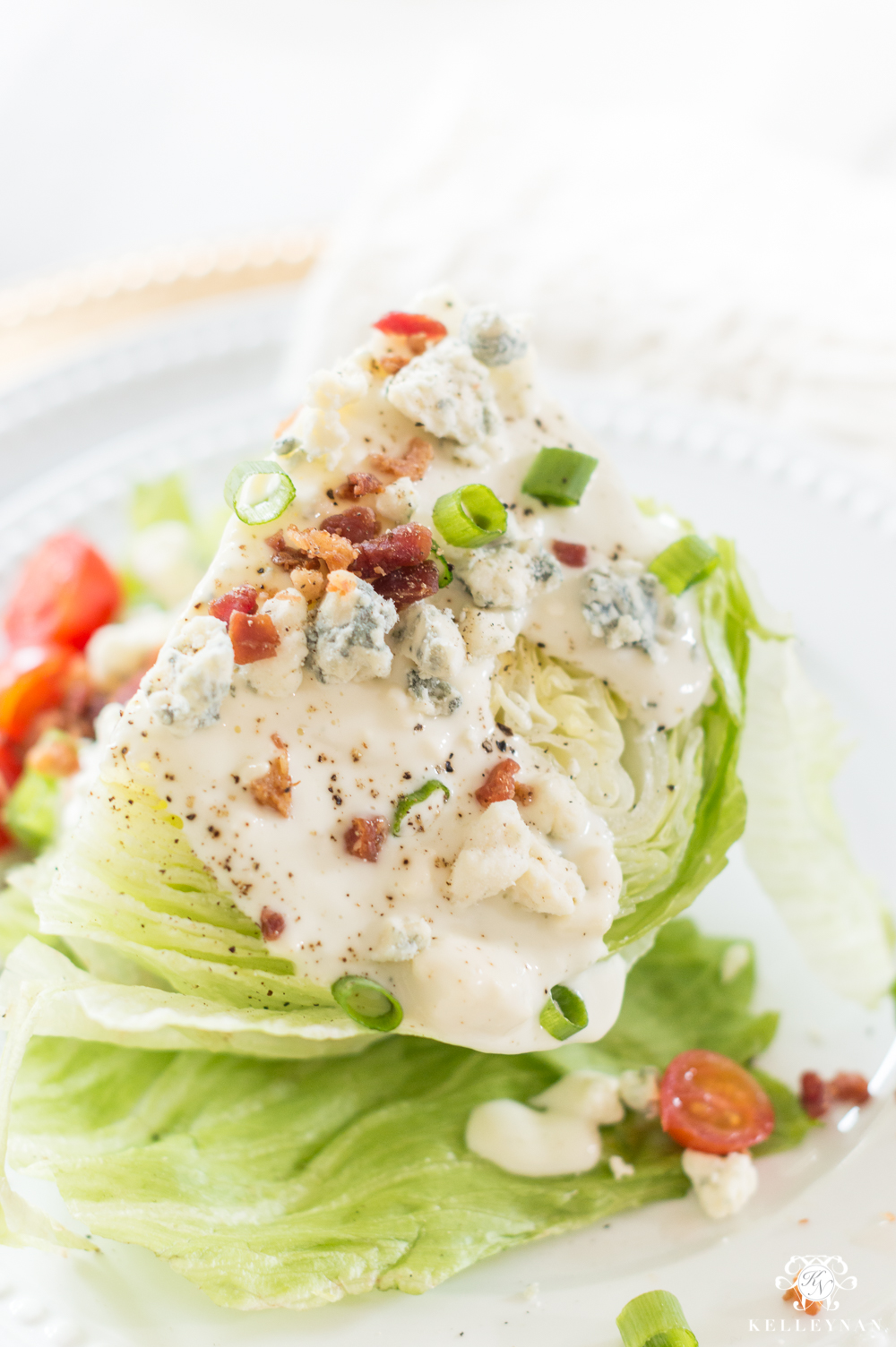 Simple wedge salad that's perfect for a Galentine's luncheon