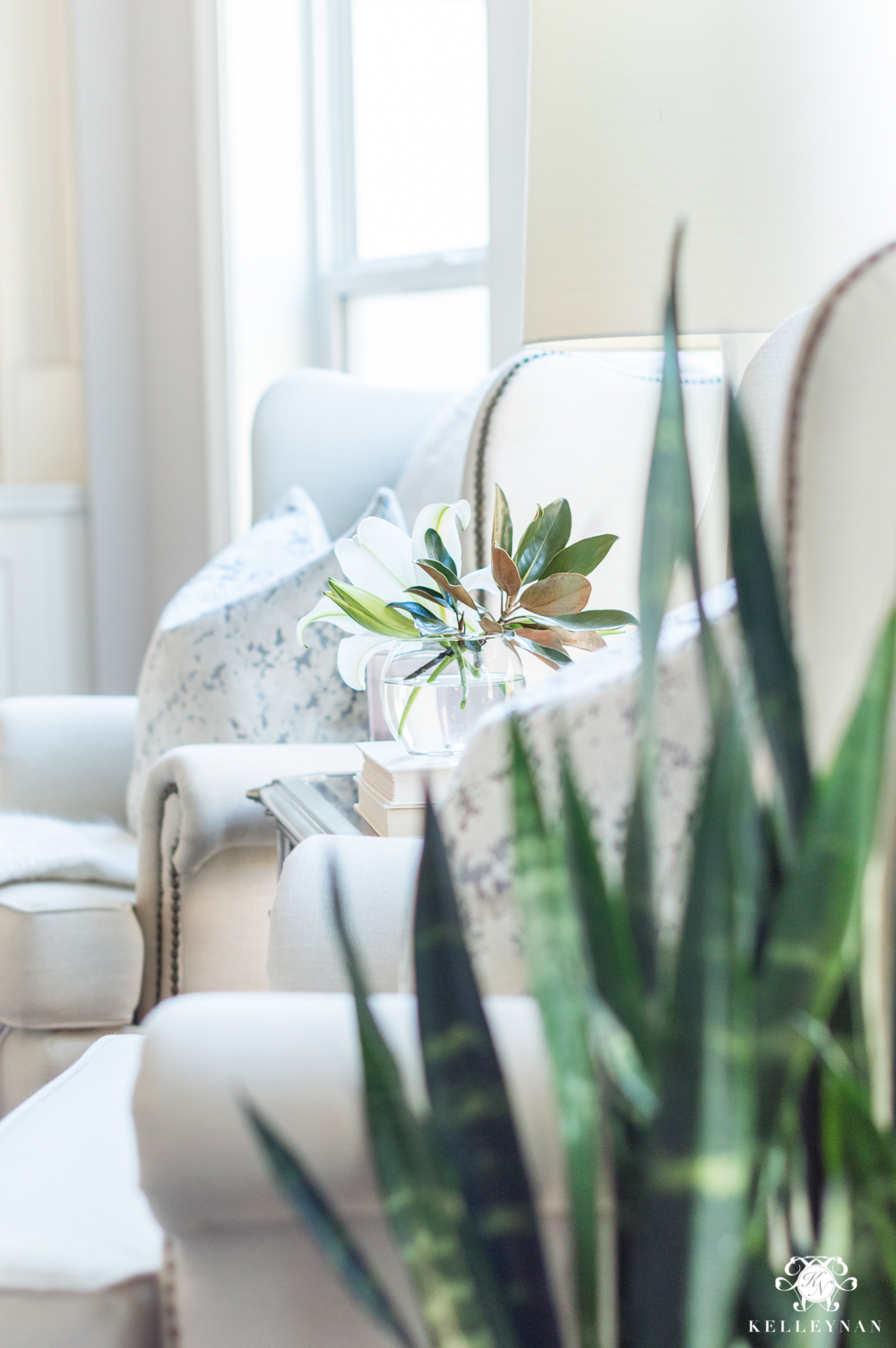 Styling wingback chairs for winter in the living room