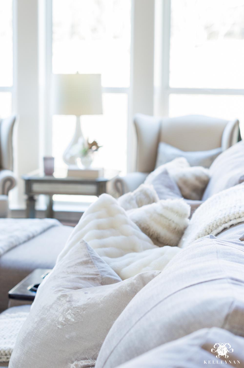 Fur pillows for winter sofa decor