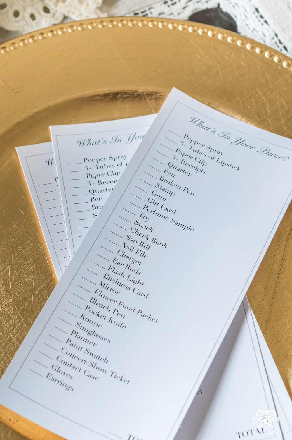Purse checklist party game for organization and clean out
