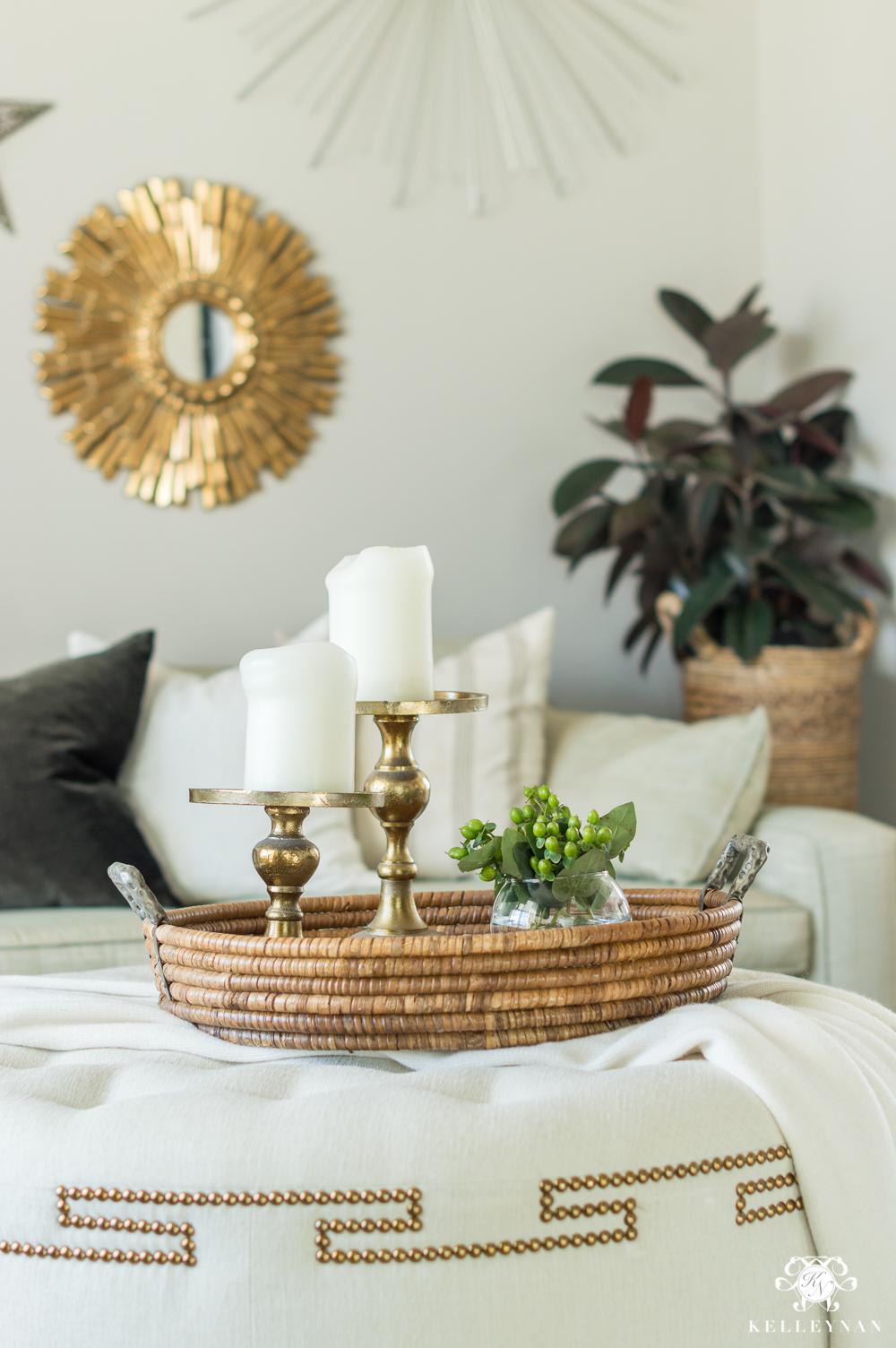 Ottoman coffee table decorating ideas