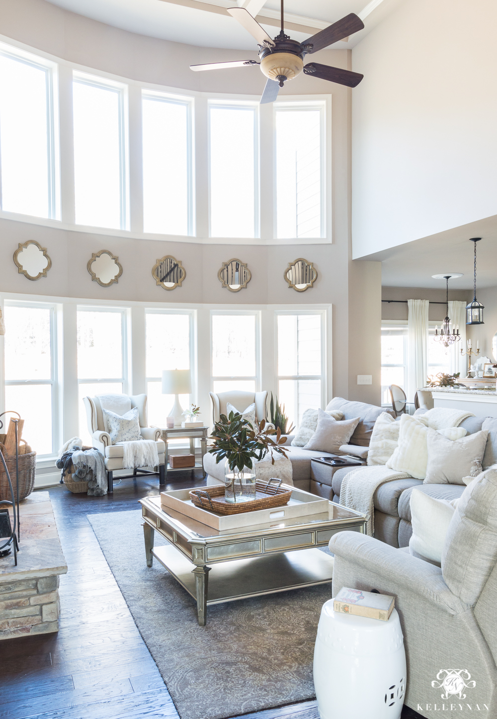 Two story bow of windows in living room