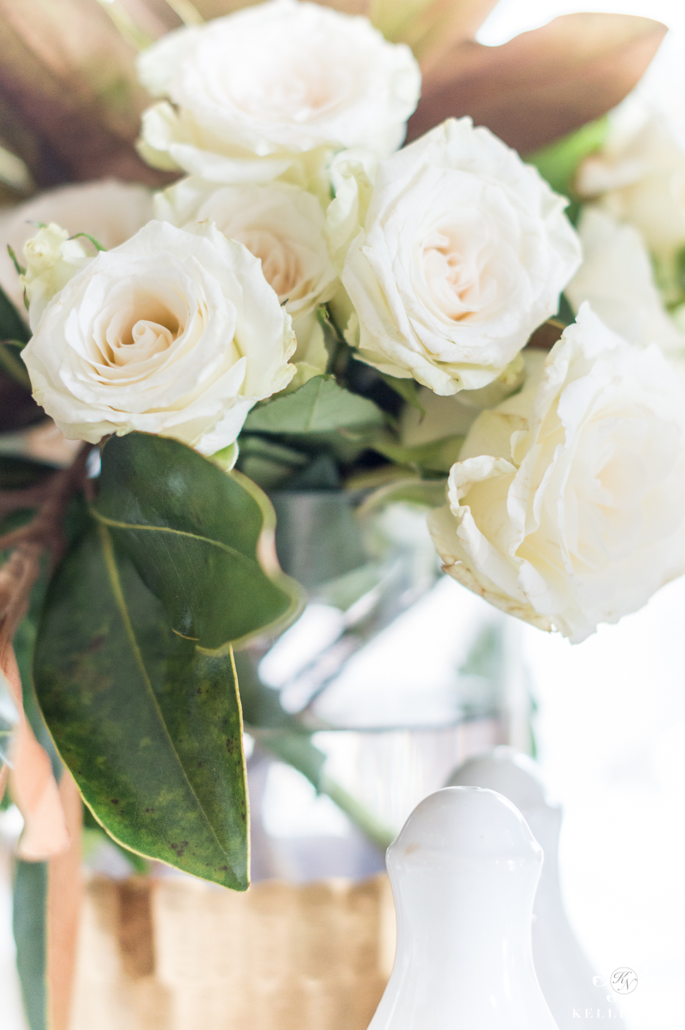 Centerpiece with white florals for Galentine's luncheon