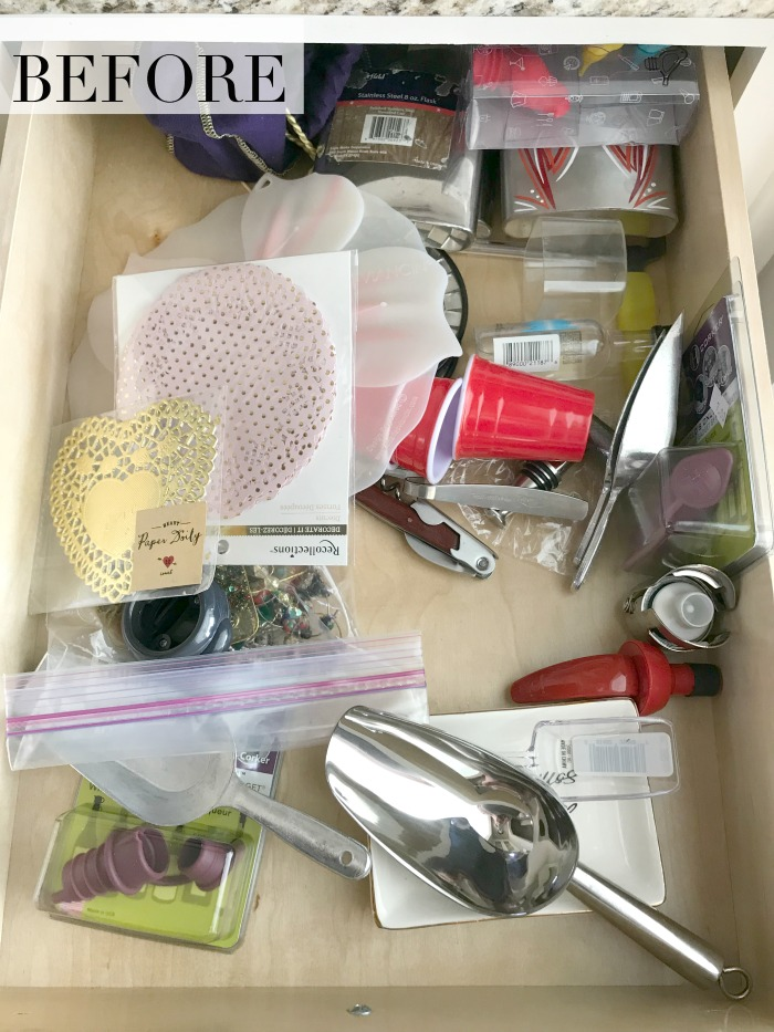 Before Organizing the Entertaining Drawer
