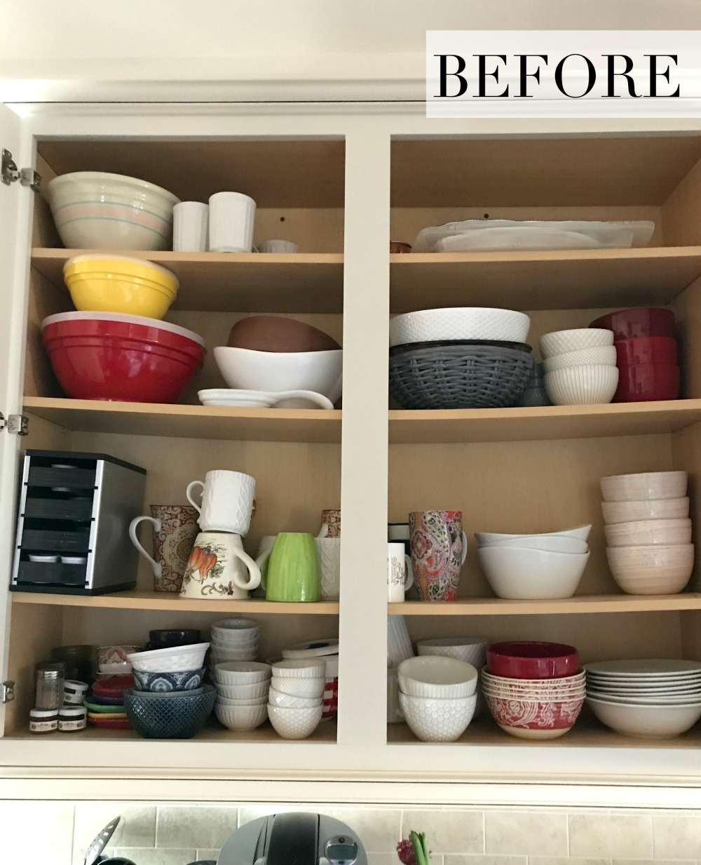 Before Organizing the Kitchen Bowl Cabinet