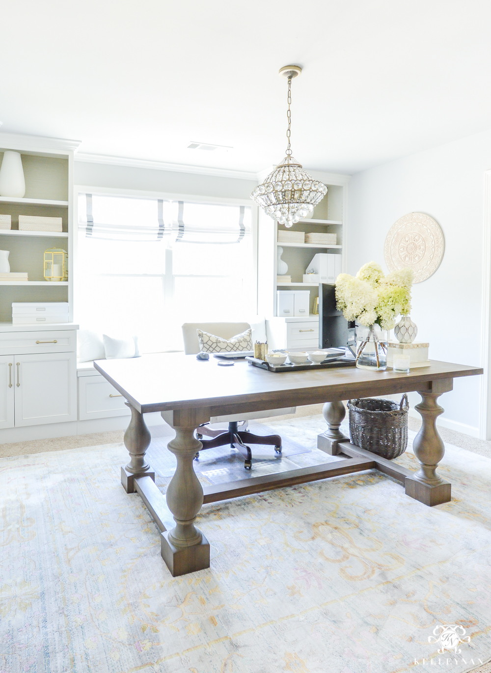 Double office desk Area Using Dining Room Table As An Office Desk In Your Home Office Kelley Nan Dining Tables That Can Double As Desks Kelley Nan
