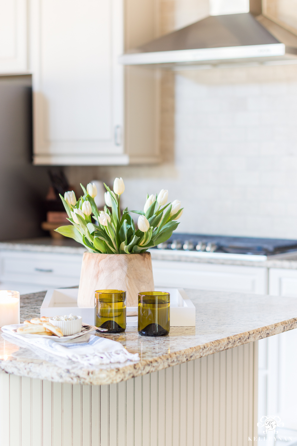 How to Style a Traditional Kitchen Island for Spring with Tulips