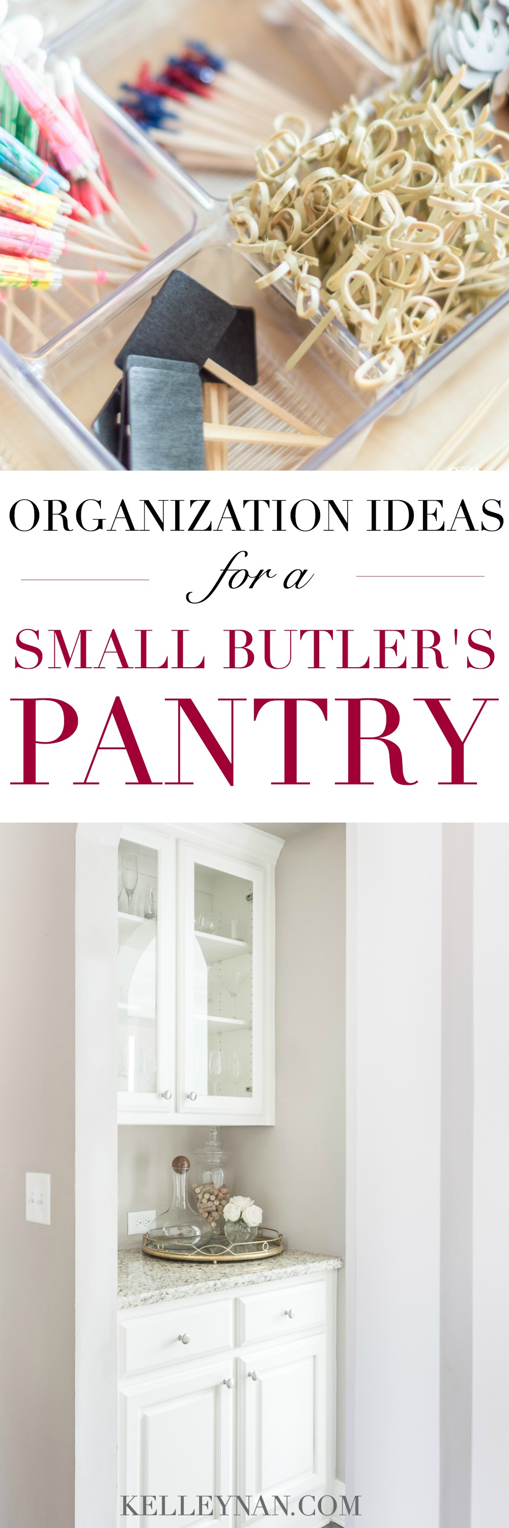 Small Organized Butler's Pantry and Liquor Cabinet