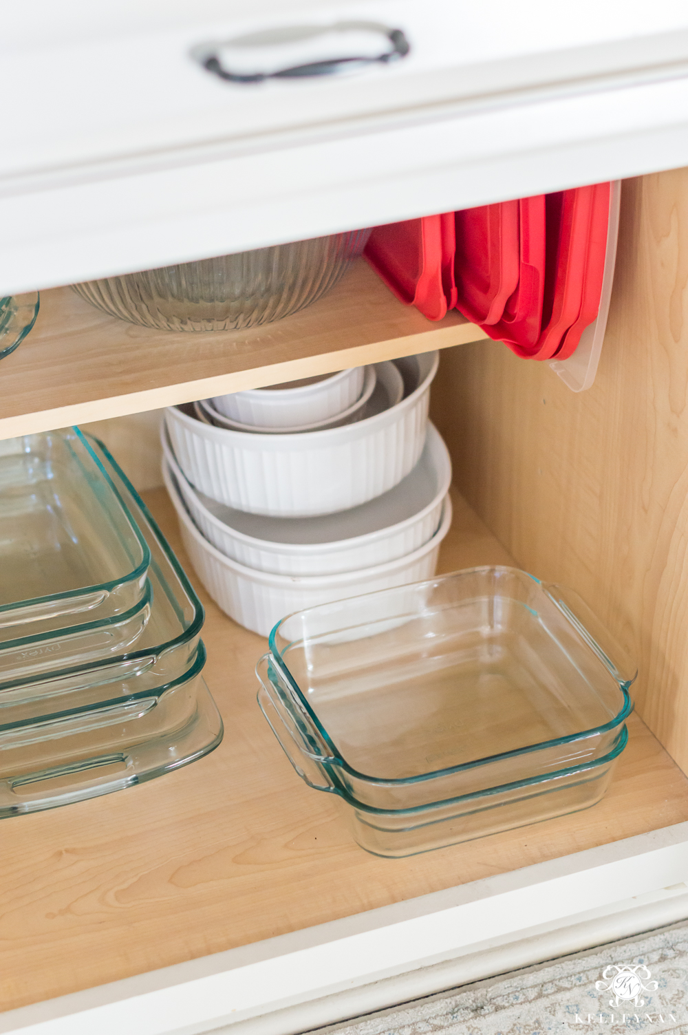 Organizing Glass Baking Dishes - corningware and pyrex