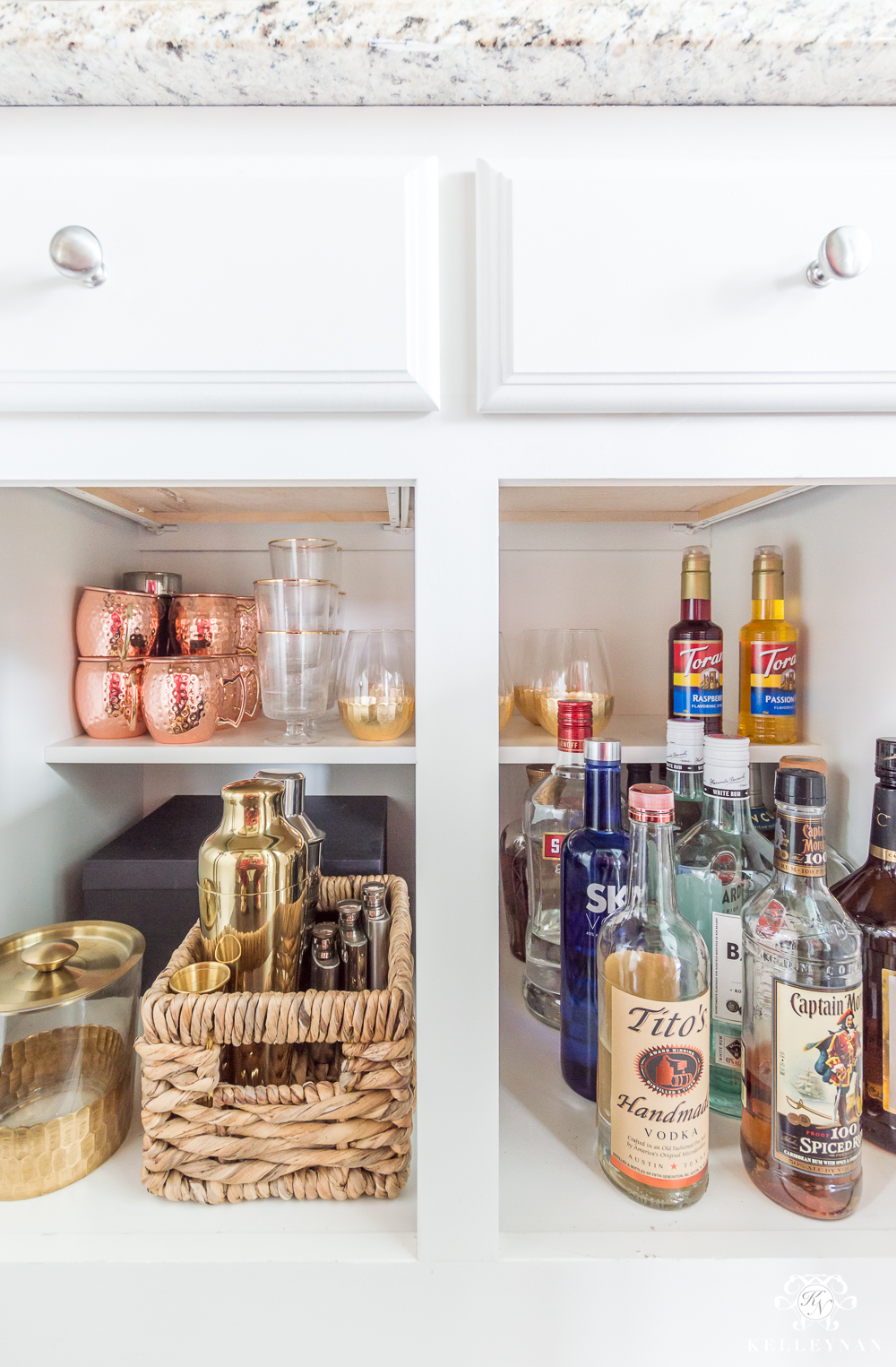 Organized Liquor Cabinet in a Small Organized Butler's Pantry