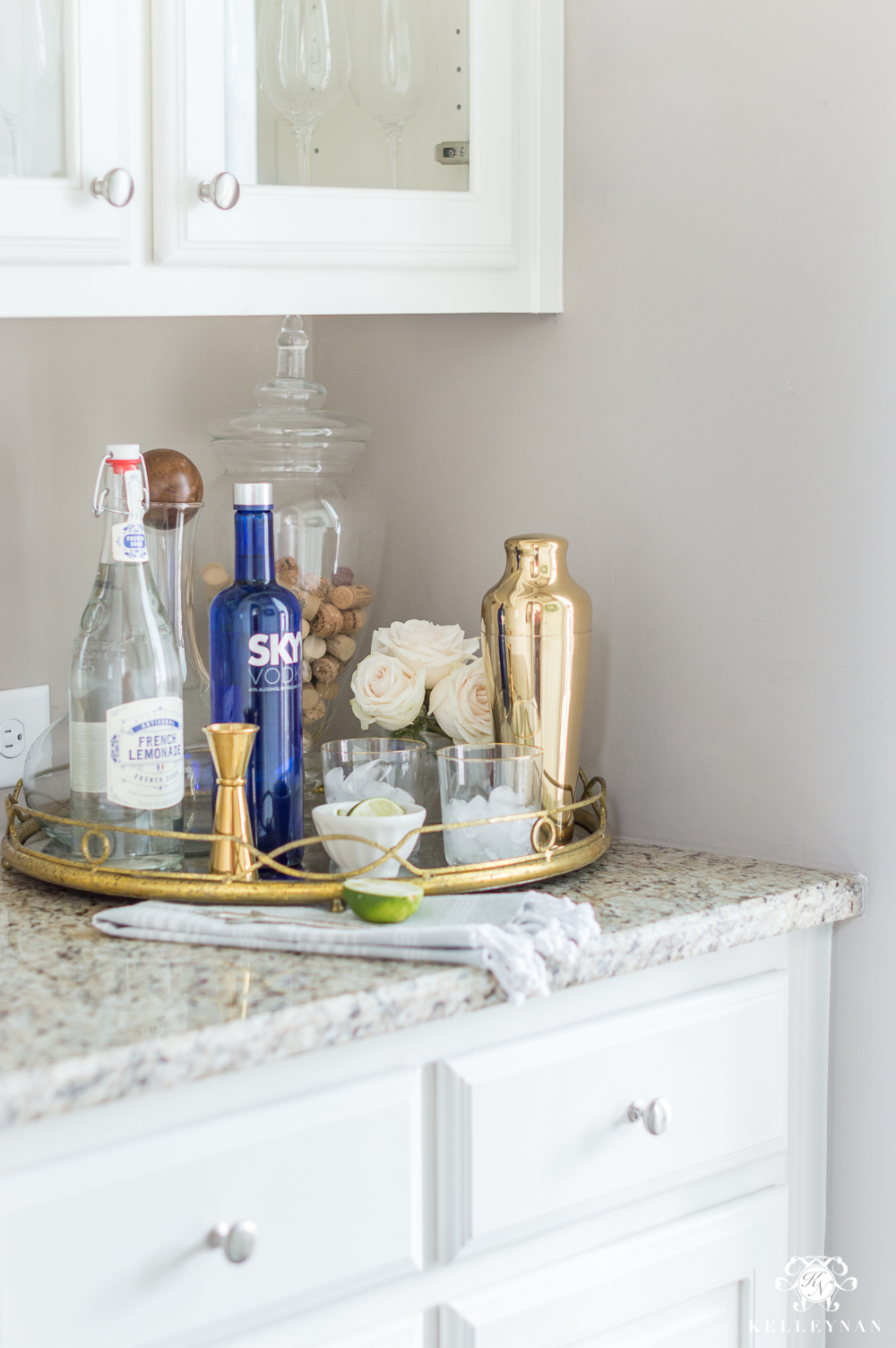 Decorated Butler's Pantry Surface and Organization