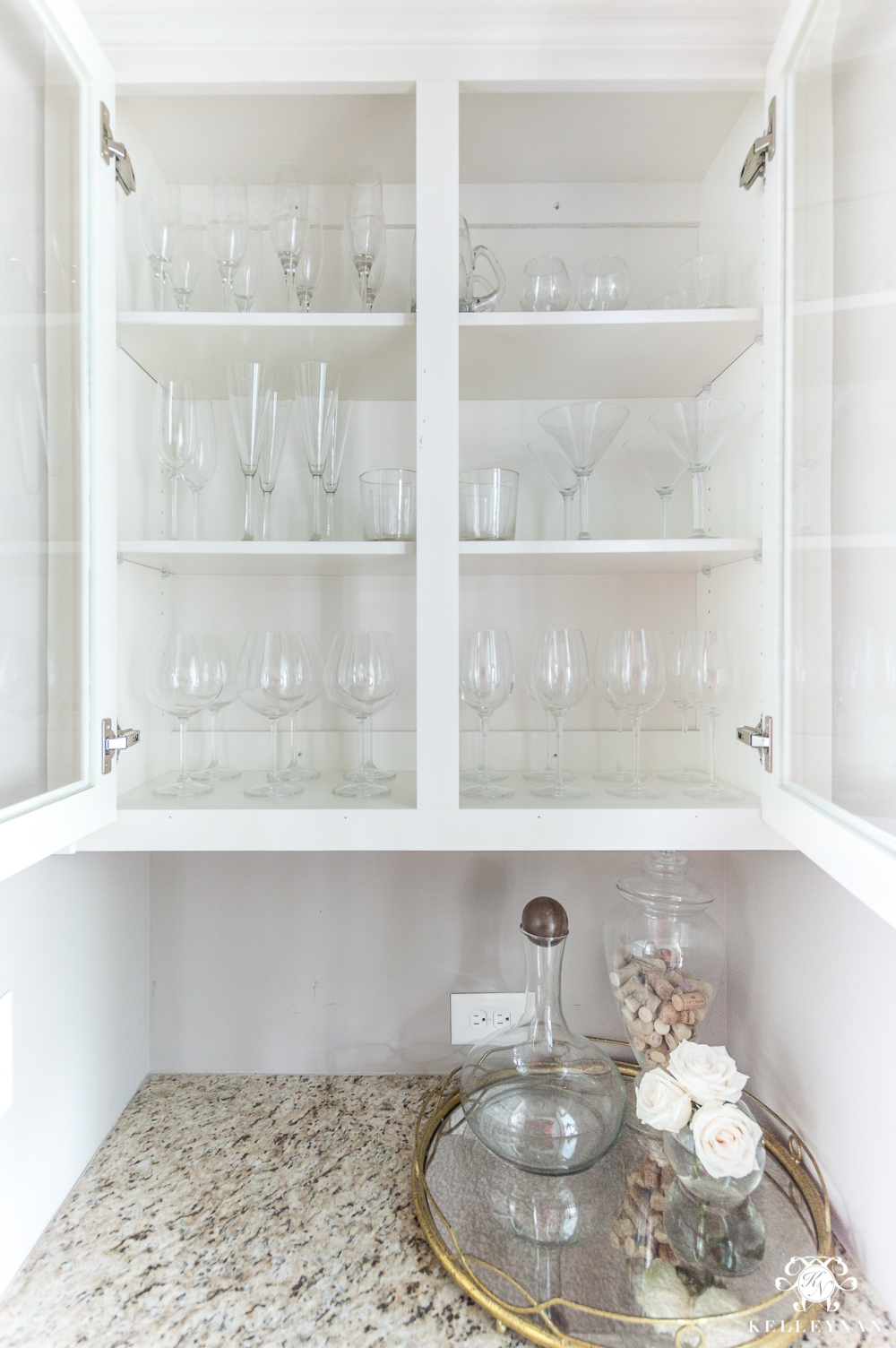 Organized Glassware in a small butler's pantry cabinet