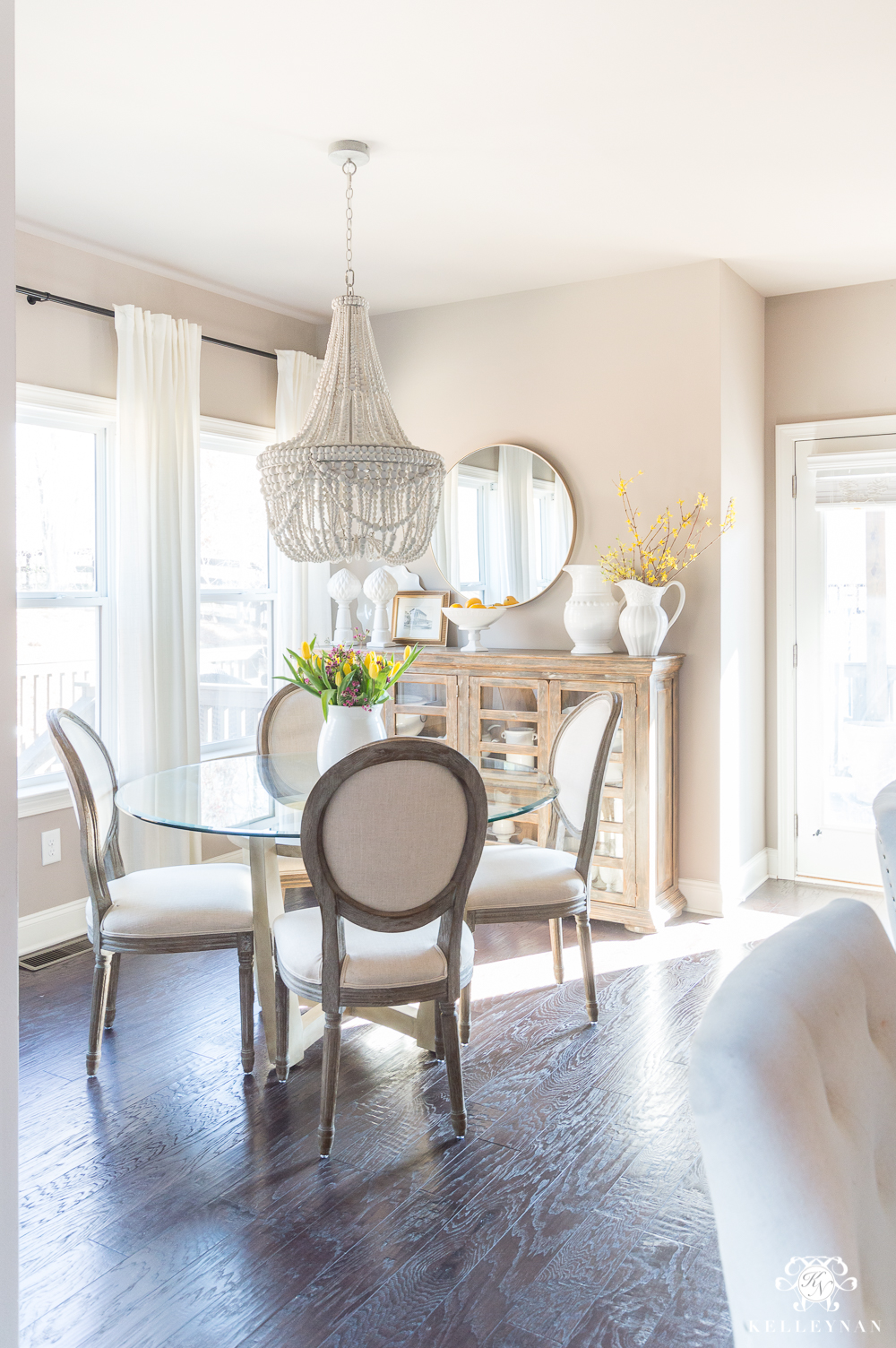 Breakfast Nook Area with Pottery Barn Francesca Beaded Chandelier
