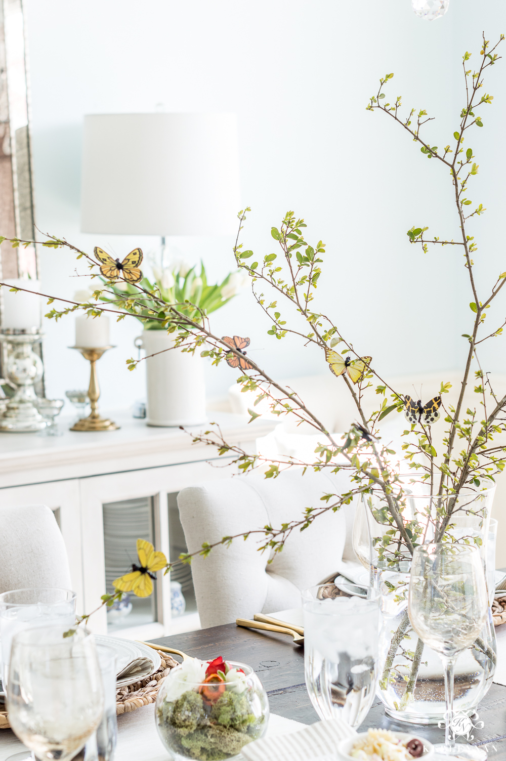 Easy Butterfly Centerpiece with Spring Branches