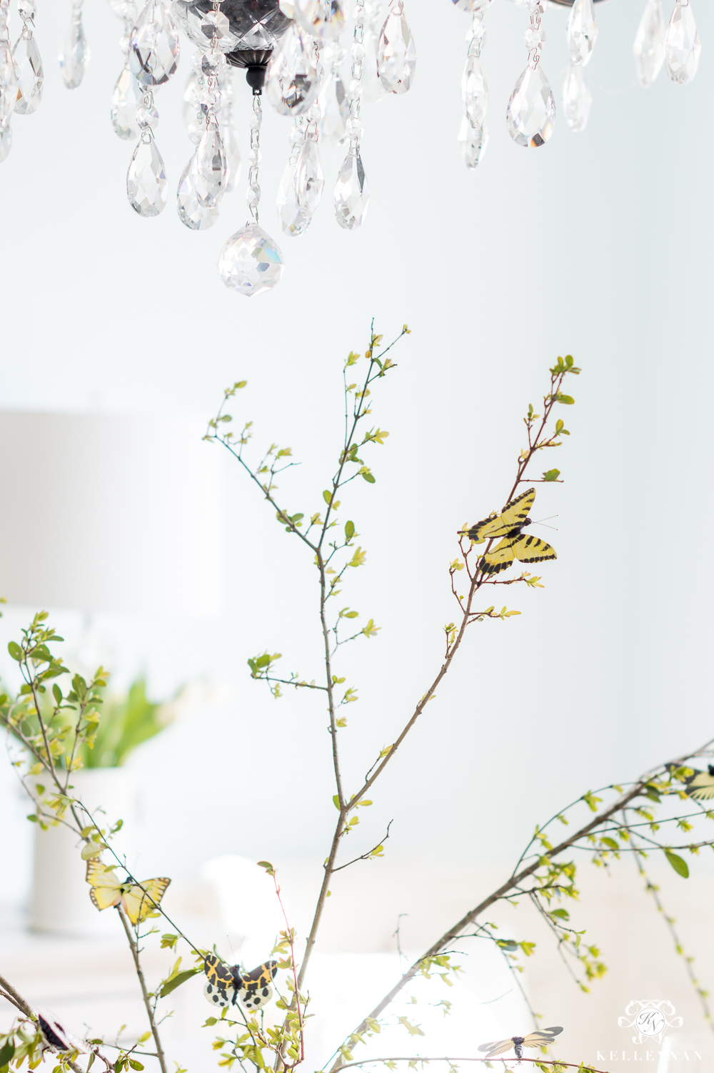 Butterfly Clips on Centerpiece Table Branches