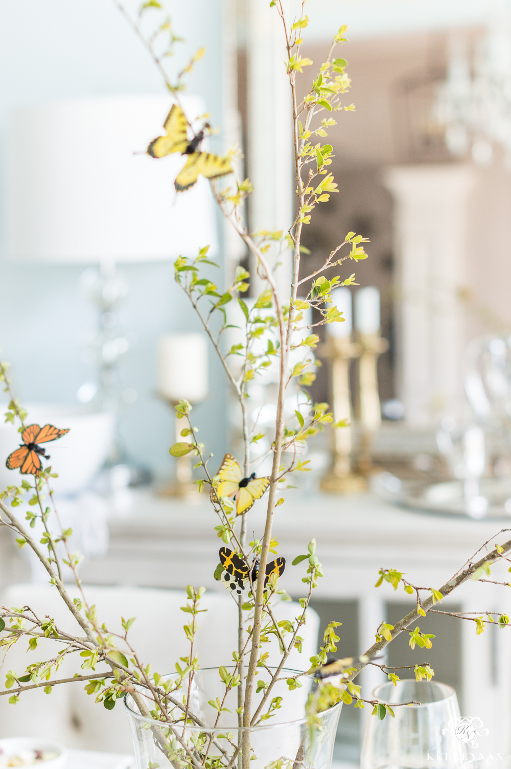 Pretty Spring Table Centerpiece with Butterfly Clips