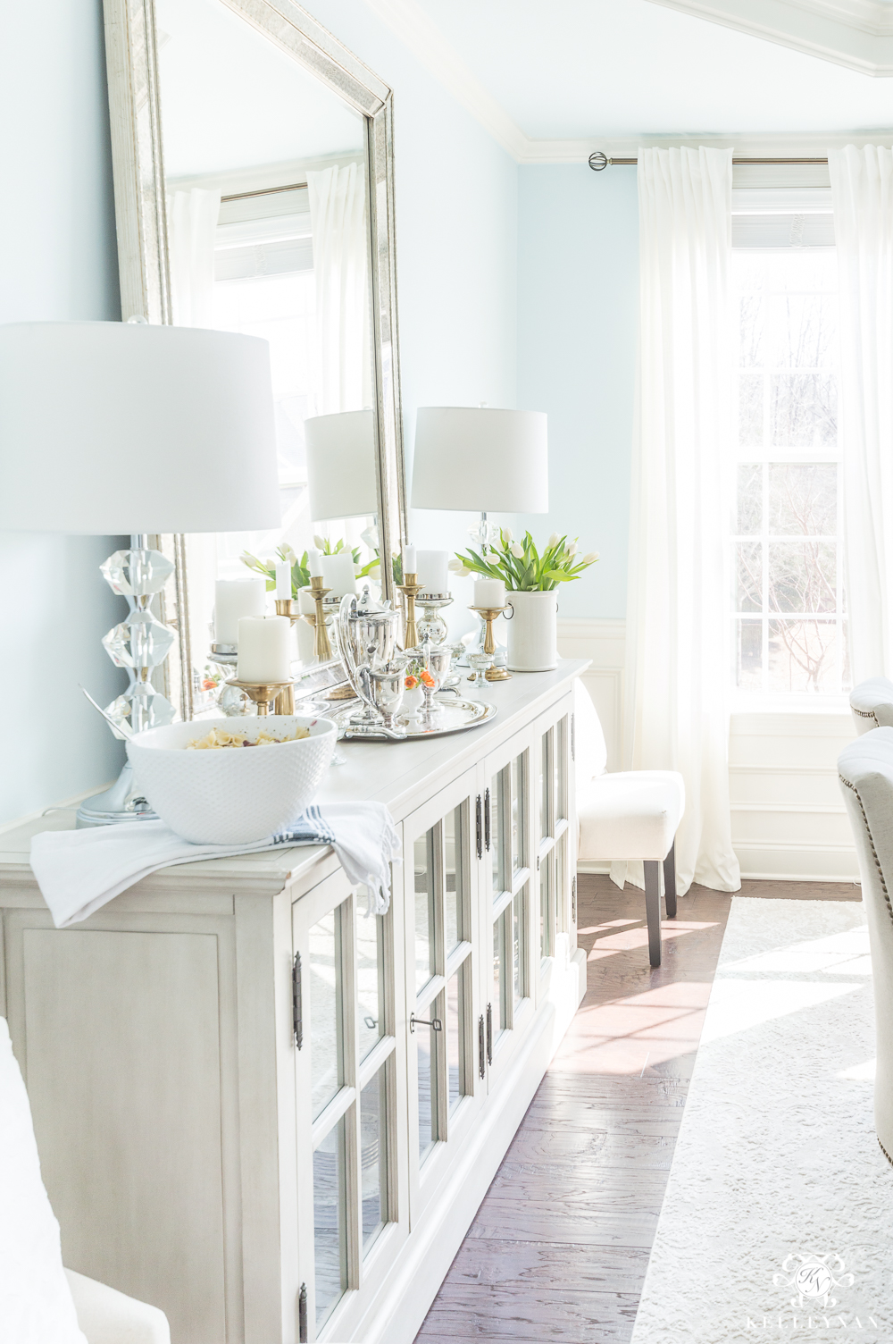 Eleant Dining Room Side Board with Mirror and Lamps