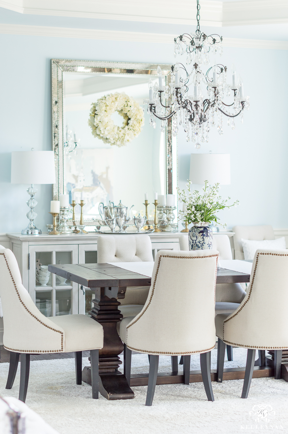 Elegant Dining Room with Sherwin Williams Blue Paint and Restoration Hardware Furniture