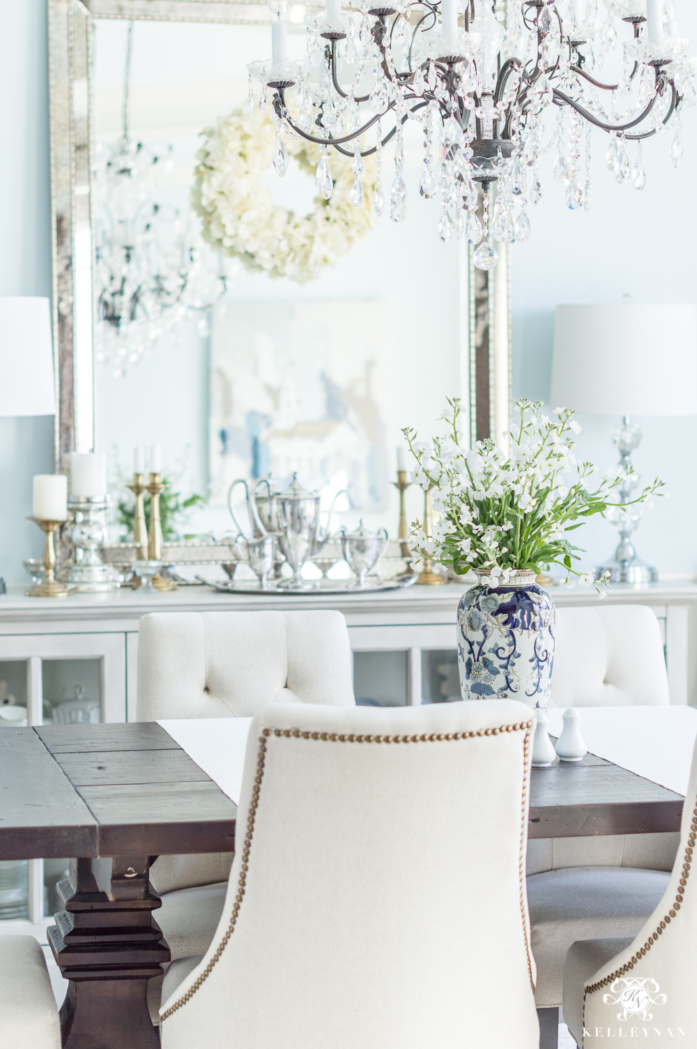 Dining Room Table Centerpiece in Blue and White Vase