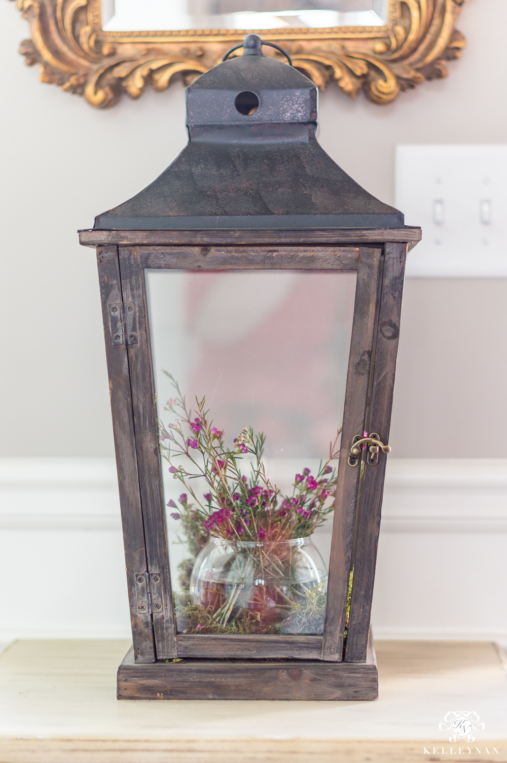 Rustic Lantern with Flowers Inside- Lantern Styling Ideas