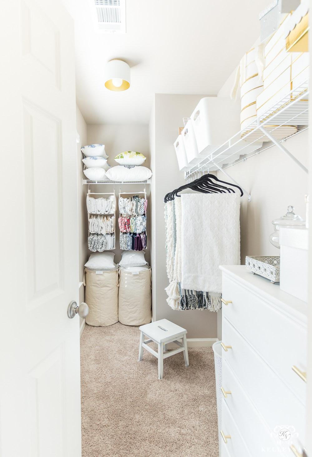 Gift wrap and pillow organization closet inspiration