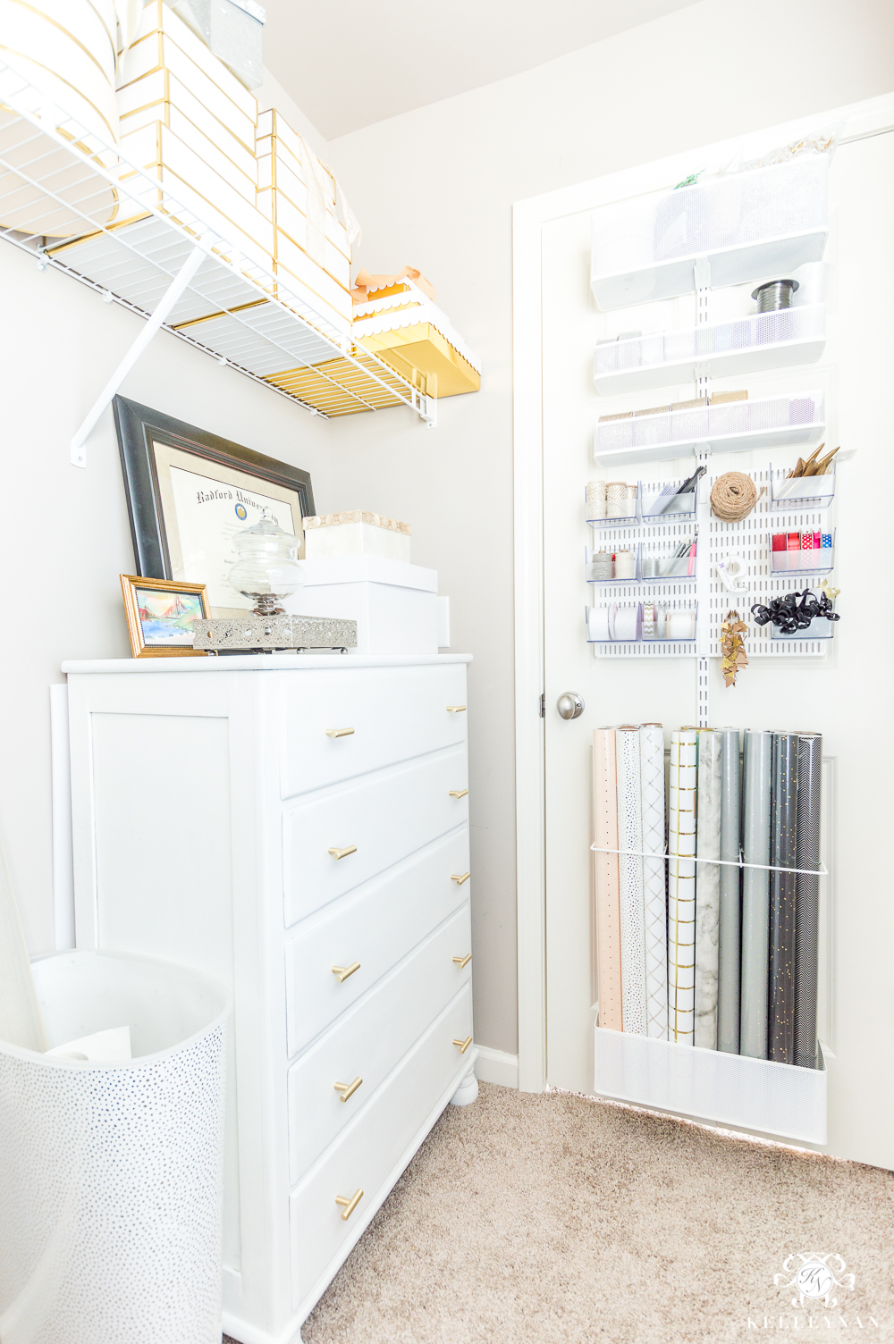 Organized Gift Wrap Closet Connected to Home Office